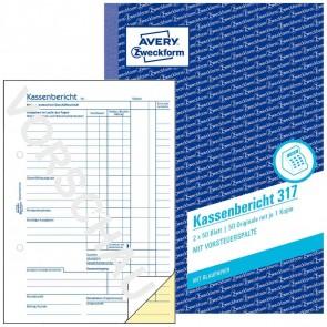 AVERY Kassenbericht 317 A5 2x50 Blatt mit Blaupapier