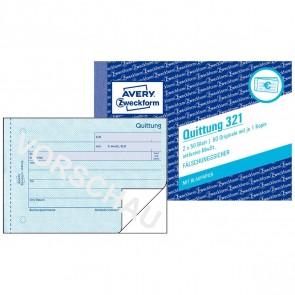 AVERY Quittung 321 A6 incl. MwSt. 2 x 50 Blatt mit Blaupapier