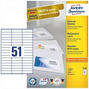 AVERY Etiketten 3420 70x16,9mm weiß A4 100 Blatt = 5100 Etiketten