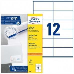 AVERY Etiketten 3424 105x48mm weiß A4 100 Blatt = 1200 Etiketten