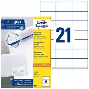AVERY Etiketten 3481 70x41mm weiß A4 100 Blatt = 2100 Etiketten