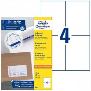 AVERY Etiketten 3483 105x148mm weiß A4 100 Blatt = 400 Etiketten