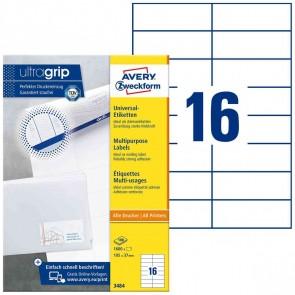 AVERY Etiketten 3484 105x37mm weiß A4 100 Blatt = 1600 Etiketten