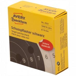 AVERY Schußpflaster 3522 19mm schwarz 1000 Stück