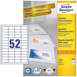 AVERY Etiketten 3650 48x21mm weiß 100 Blatt = 5200 Etiketten
