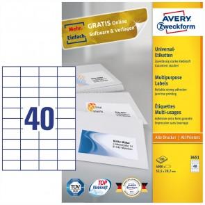 AVERY Etiketten 3651 52,5x29,7mm weiß A4 100 Blatt = 4000 Etiketten