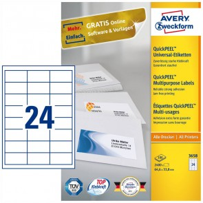 AVERY Etiketten 3658 64,6x33,8mm weiß A4 100 Blatt = 2400 Etiketten