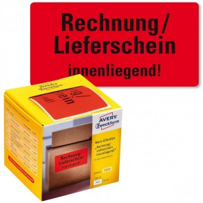 AVERY Warnetiketten 7212 100x50mm neonrot Rechnung / Lieferschein 200 Stück
