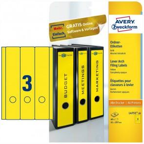 AVERY Rückenschilder L4755 61x297mm breit lang gelb 20 Blatt = 60 Stück