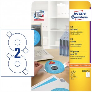 AVERY CD Etiketten Classic Size L6015 117mm weiß A4 25 Blatt = 50 Etiketten incl. Zentrierhilfe