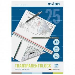 MILAN Transparentpapierblock A3 80g 25 Blatt