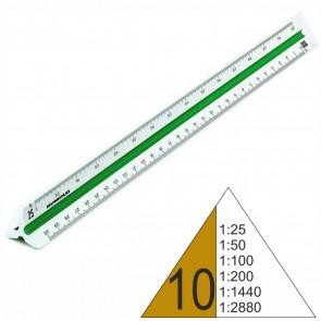 RUMOLD Dreikantmaßstab 150/30/10 Kunststoff 30cm weiß Vermessung 10 1:25 - 1:2880