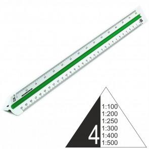 RUMOLD Dreikantmaßstab 150/4/30 Kunststoff 30cm weiß Architect 4 1:100 - 1:500