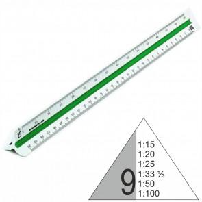 RUMOLD Dreikantmaßstab 150/9/30 Kunststoff 30cm weiß Maschinenbau 9 1:15 - 1:100