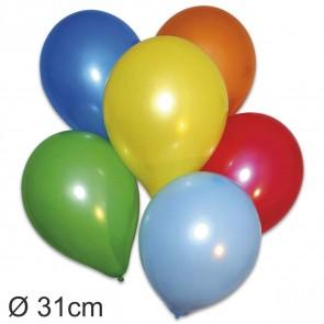 GLOBOS Luftballons rund 95-105cm Umfang, D=31cm, 100 Stück farbig sortiert