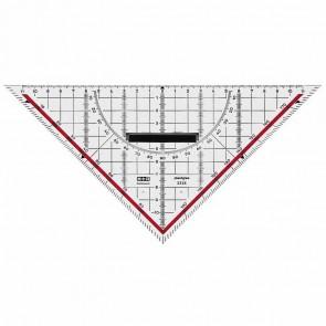 M+R Geodreieck mit abnehmbaren Griff 2323 22cm transparent mit Tuschenoppen