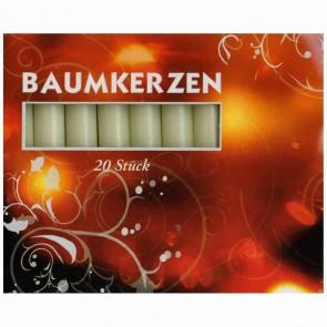 Baumkerzen 13/100 weiß 20 Stück 12,8 x 96mm