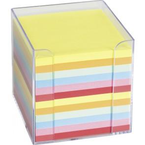 BÜROWELT Zettelbox transparent 10x10cm farbig gefüllt mit ca. 800 Blatt