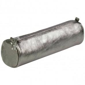 CLAIREFONTAINE Schlamperrolle rund 5,5 x 22cm echt Leder graphite metallic