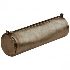 CLAIREFONTAINE Schlamperrolle rund 5,5 x 22cm echt Leder braun metallic