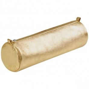 CLAIREFONTAINE Schlamperrolle rund 5,5 x 22cm echt Leder gold metallic
