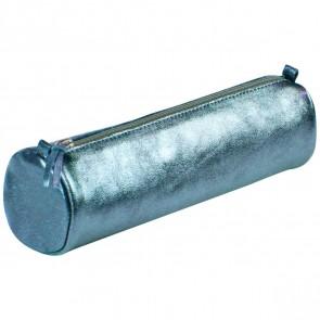 CLAIREFONTAINE Schlamperrolle rund 5,5 x 22cm echt Leder indigoblau metallic