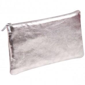 CLAIREFONTAINE Schlamperrolle flach 22 x 11cm echt Leder silber metallic