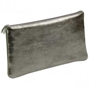 CLAIREFONTAINE Schlamperrolle flach 22 x 11cm echt Leder graphit metallic