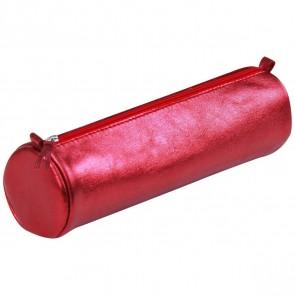 CLAIREFONTAINE Schlamperrolle rund 5,5 x 22cm echt Leder rot metallic