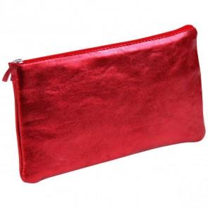 CLAIREFONTAINE Schlamperrolle flach 22 x 11cm echt Leder rot metallic