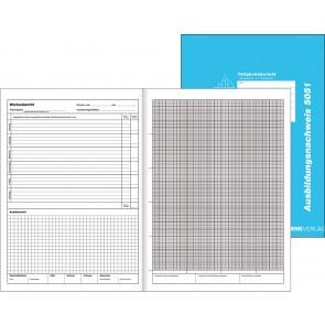 Das Bild zeigt Außenansicht und Innenansicht des Berichtsheftes nebeneinander abgebildet.