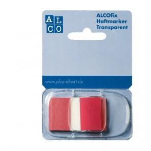 ALCO Haftmarker Spender Rot 50 Stück Transparent 25x43mm