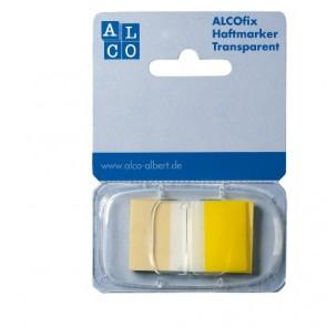 ALCO Haftmarker Spender Gelb 50 Stück Transparent 25x43mm