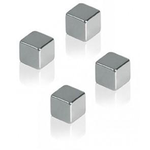 ALCO Neodym Würfelmagnete 4 Stück 10x10x10mm silber