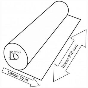Telefaxrolle 216mm x 15m x 12mm Thermopapier, D=37mm