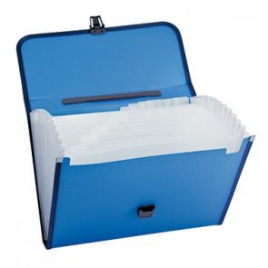 Fächertasche DIN A4 12Fächer Polypropylen blau