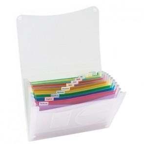 Fächertasche DIN A4 13Fächer Polypropylen transluzent