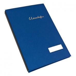 Soennecken Unterschriftsmappe 1491 DIN A4 20Fächer Leinen blau