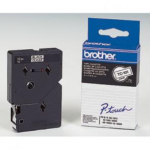 P-touch Schriftbandkassette TC101 12mmx7,7m laminiert sw auf fl