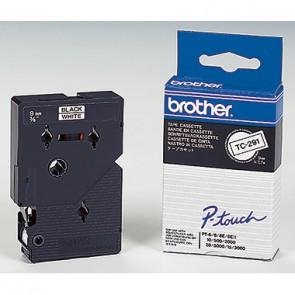 P-touch Schriftbandkassette TC291 9mmx7,7m laminiert sw auf ws