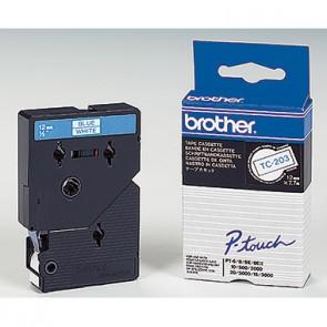 P-touch Schriftbandkassette TC203 12mmx7,7m laminiert bl auf ws