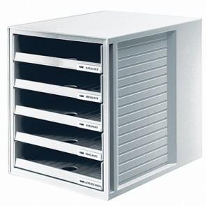 HAN Schubladenbox 1401-11 DIN A4 5Schubfächer PS lichtgrau/lichtgrau