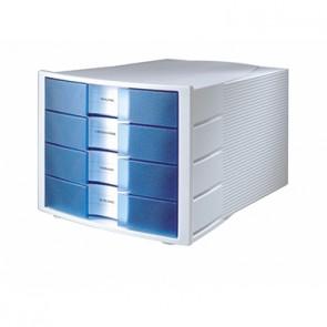 HAN Schubladenbox IMPULS 1010-X-64 DIN C4 4Schubfächer l.grau/blau