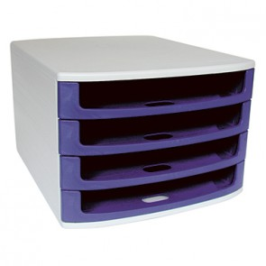 Soennecken Schubladenbox 1550 4offene Schübe blau