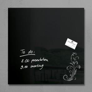 SIGEL Glas Magnetboard GL115 artverum schwarz mit Ornament 48x48cm