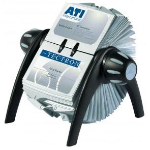DURABLE Visitenkarten-Drehkartei VISIFIX® flip, mit Visitenkarten gefüllter schwarzer Ständer, beidseitig mit zweifarbigen Drehknöpfen, Beispielkarten sichtbar, Register A-Z