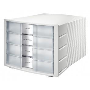 Schubladenbox IMPULS transl klar A4/C4, 4 geschlossene Schubladen