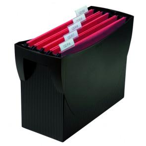 Hängemappenbox SWING, schwarz für 20 Hängemappen, integr. Köcher