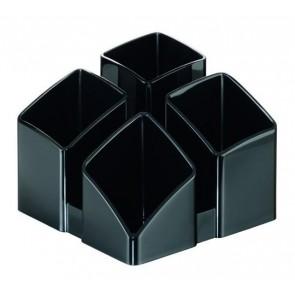 Schreibtischköcher SCALA, schwarz mit 4 Fächern und Kartenständer