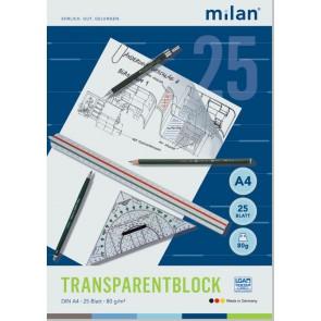 MILAN Transparentpapierblock A4 25 Blatt